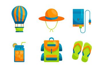 9款彩色旅行元素设计矢量图