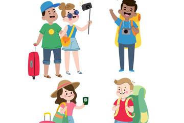 4组卡通旅行人物设计矢量素材