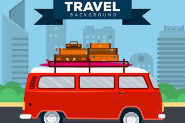 红色旅行度假面包车矢量素材