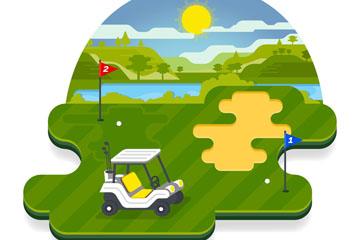 创意高尔夫球场风景矢量素材