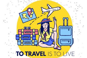 创意手绘旅行女子矢量素材