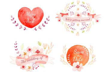 4款水彩绘婚礼标签设计矢量素材
