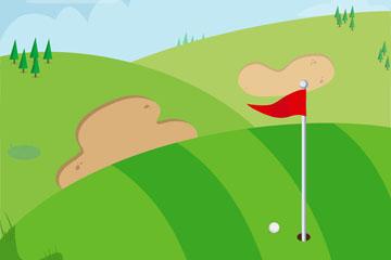 绿色高尔夫球场矢量素材