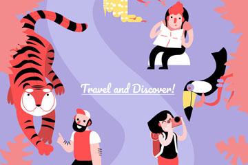 创意动物园旅行的人物矢量图