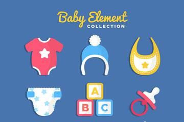 10款彩色婴儿用品矢量图