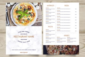 创意意大利餐馆菜单正反面矢量图