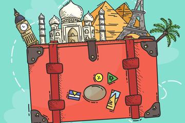 彩绘旅行箱里的旅游景点矢量图