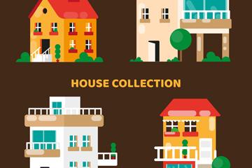 4款创意私人住宅设计矢量图