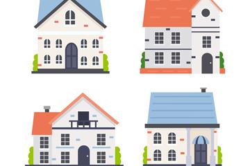 4款彩色屋顶住宅设计矢量图