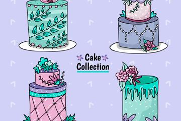 4款创意花卉蛋糕设计矢量图