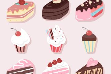 9款美味甜点贴纸设计矢量图