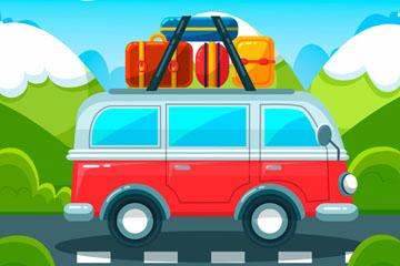创意公路上的度假车矢量素材