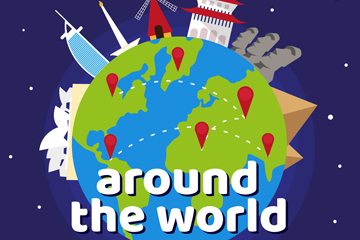 彩色环球旅行地球矢量素材