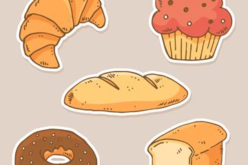 5款创意甜点贴纸矢量素材