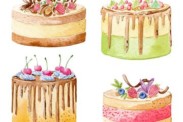 4款水彩绘水果蛋糕矢量素材