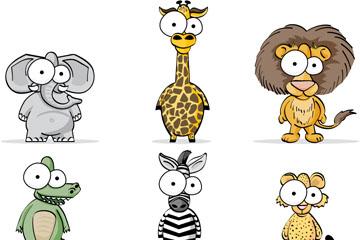 9款卡通大眼睛动物设计矢量图