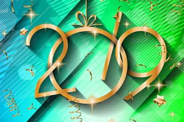 金色2019年节日挂饰艺术字矢量图