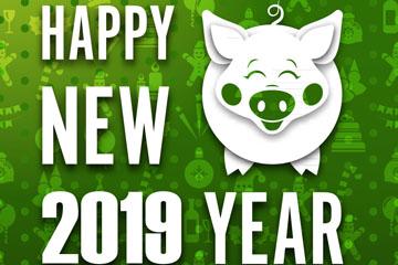 2019年白色猪新年快乐艺术字矢量图