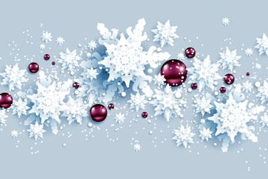 白色质感雪花和节日吊球矢量图