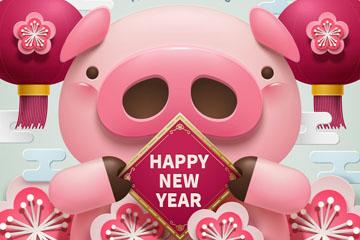 2019年卡通猪节日贺卡矢量素材