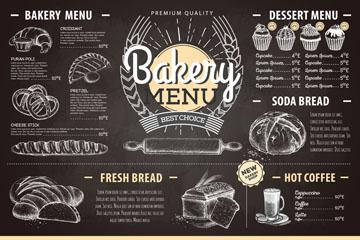 创意面包店菜单黑板画矢量图