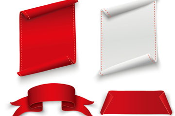 4款白色和红色空白条幅矢量图