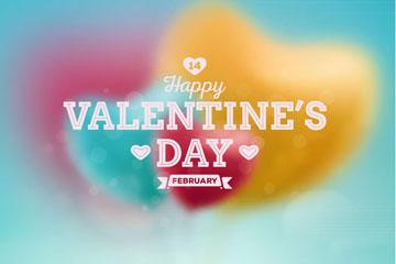 创意情人节模糊爱心气球贺卡矢量图