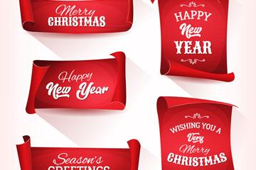 5款红色圣诞节条幅设计矢量素材
