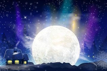 卡通冬季夜晚月亮�L景矢量�D
