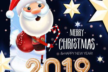 可爱圣诞老人节日贺卡矢量素材