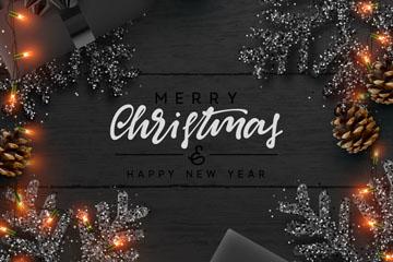 精美松枝圣诞新年贺卡矢量图