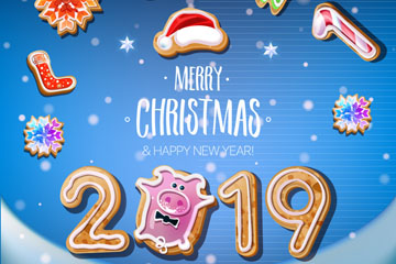 2019年可爱猪饼干新年贺卡矢量图