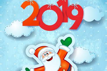 2019年新年圣诞老人贴纸贺卡矢量图
