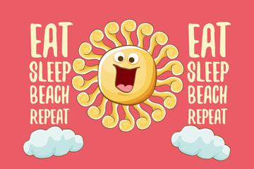 可爱大笑夏季太阳矢量素材