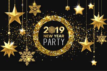 2019年金色新年派对挂饰海报矢量图