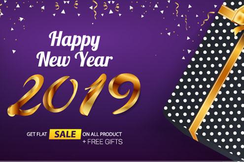 2019年紫色新年促销礼盒海报矢量图