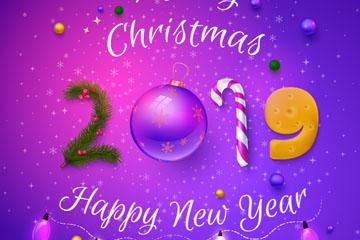 2019年紫色圣诞新年贺卡矢量图