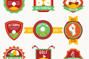 9款彩色高尔夫俱乐部标签矢量图
