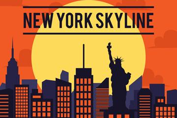 时尚纽约建筑剪影开户送体验彩金的网站