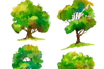 4款水彩绘茂盛树木矢量素材