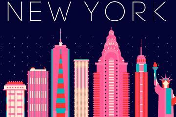 彩色纽约城市剪影矢量素材