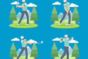 4款创意高尔夫男子动作矢量图