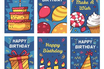 6款彩绘生日快乐卡片矢量素材
