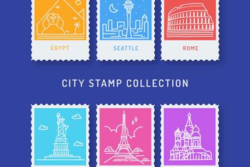 6款白色旅游城市邮票矢量图
