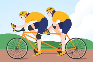 创意骑双人自行车的人物矢量图