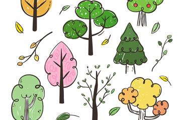 8款手绘树木设计矢量素材