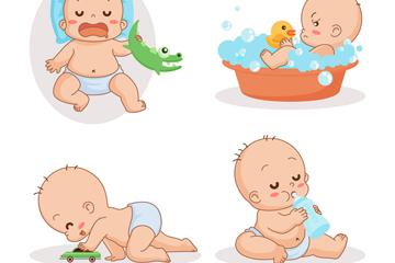 4款可爱婴儿动作矢量素材