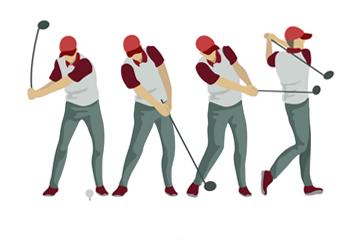 4款创意高尔夫男子示范动作矢量