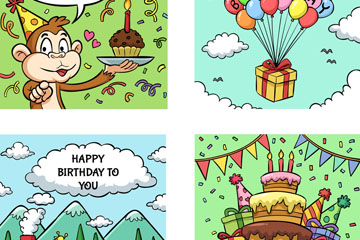 4款手绘生日卡片矢量素材