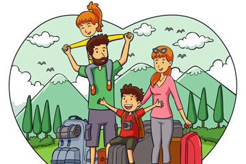 创意旅行度假中的四口之家矢量图